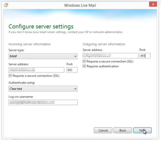 Live Mail - Configure Server Settings