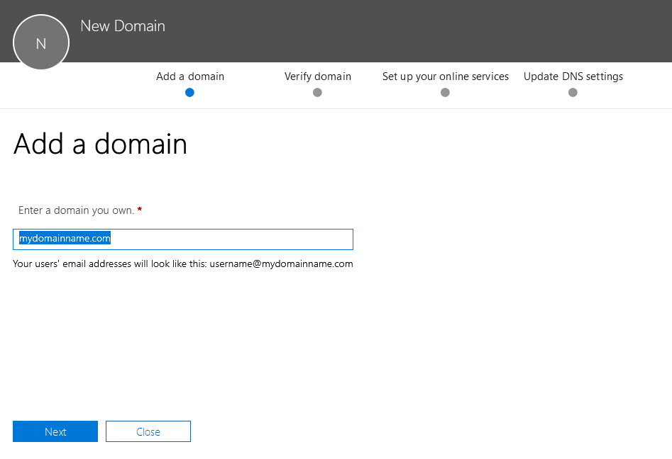 Office 365 - Add Domain - Enter Domain Name