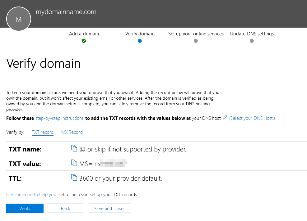 Office 365 - Add Domain - TXT record details