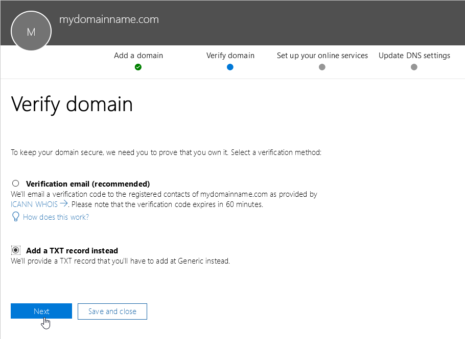 Office 365 - Add Domain - Verify using TXT record
