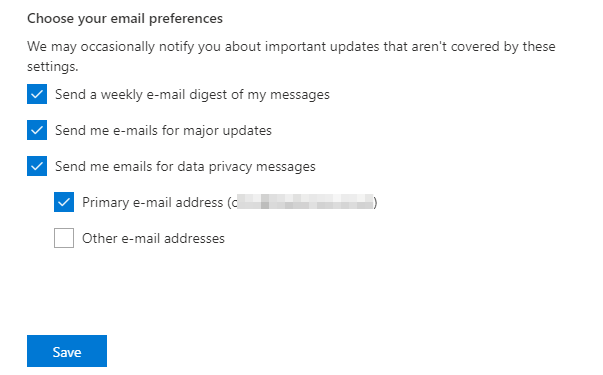 Office 365 - Message Center - Preferences - Save