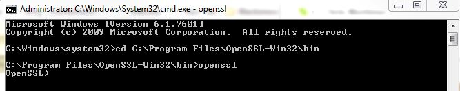 Command Prompt for OpenSSL