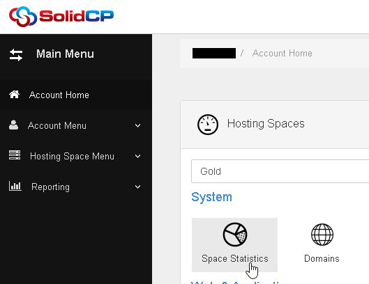 Space Statistics Menu in SolidCP