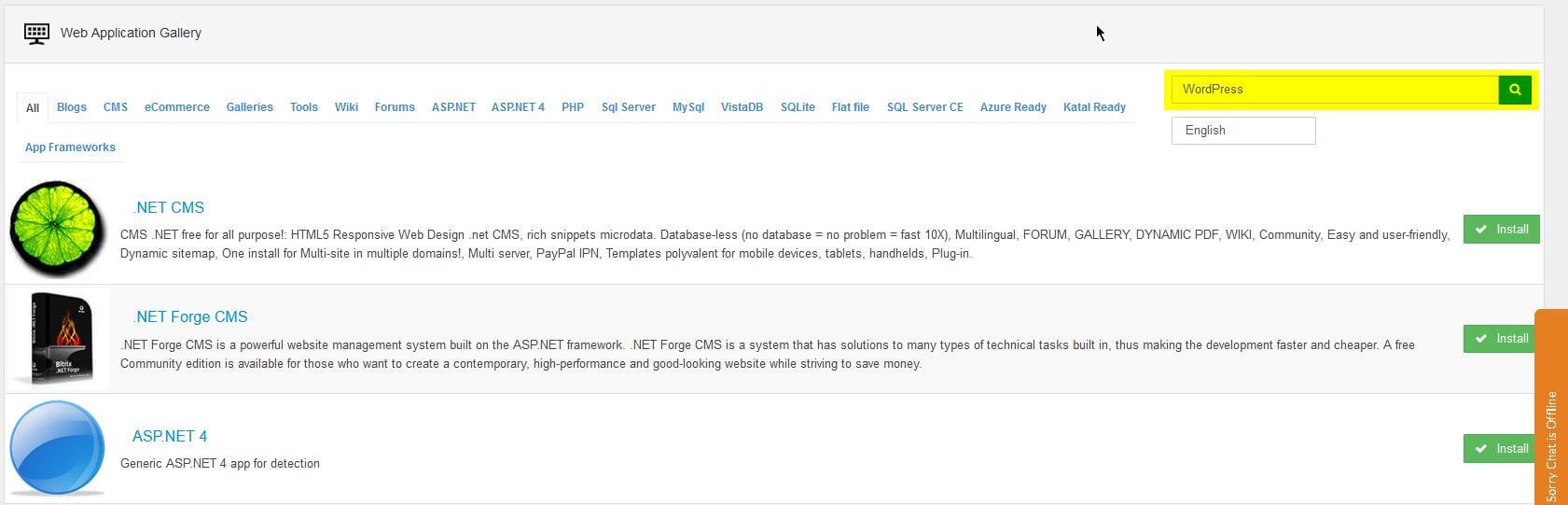 Type 'WordPress' in the Web App Gallery search box.
