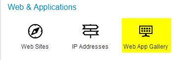 Click 'Web App Gallery' underneath 'Web & Applications'.