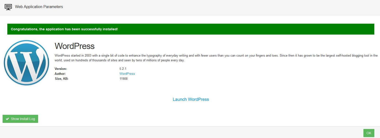 WordPress install confirmation page.