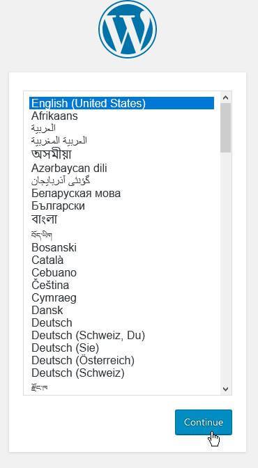 Select a language from the WordPress language page.
