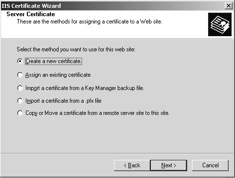Create new SSL Certificate